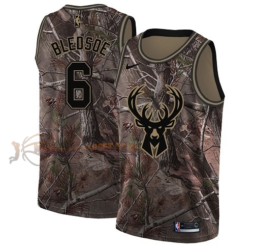 De Alta Calidad Camisetas NBA Milwaukee Bucks 6 Eric Bledsoe Camo Swingman Realtree Collection 2018