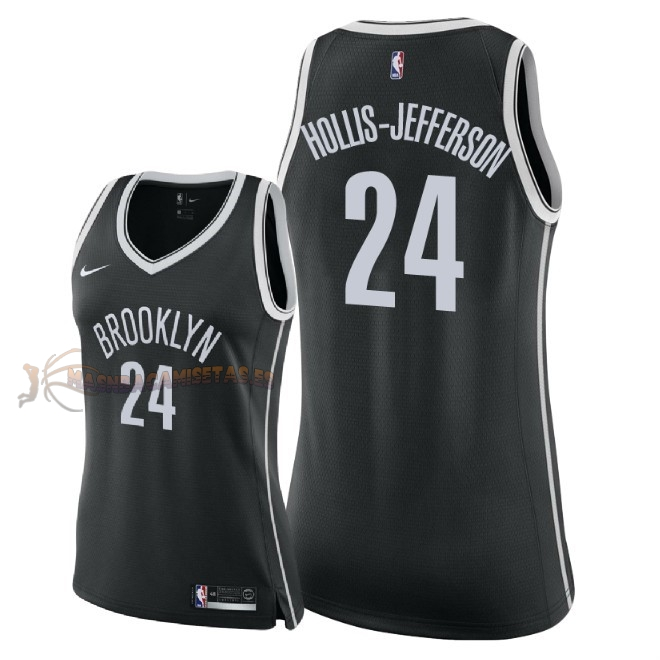 De Alta Calidad Camisetas NBA Mujer Brooklyn Nets 24 Rondae Hollis Jefferson Negro Icon 2018