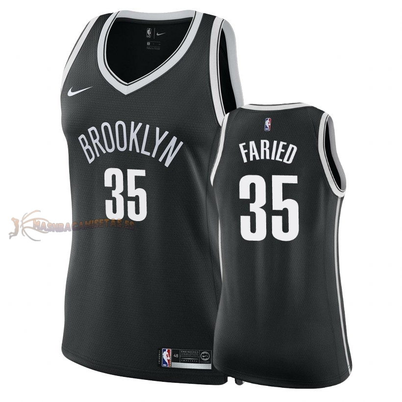 De Alta Calidad Camisetas NBA Mujer Brooklyn Nets 35 Kenneth Faried Negro Icon 2018