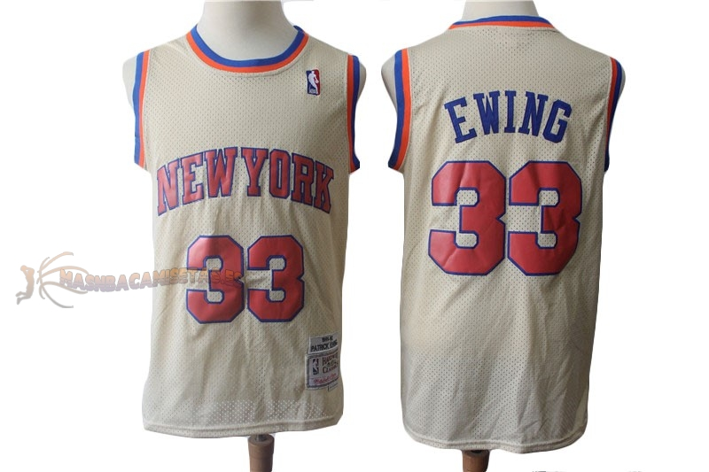 De Alta Calidad Camisetas NBA New York Knicks 33 Patrick Ewing Retro Crema 1991-92