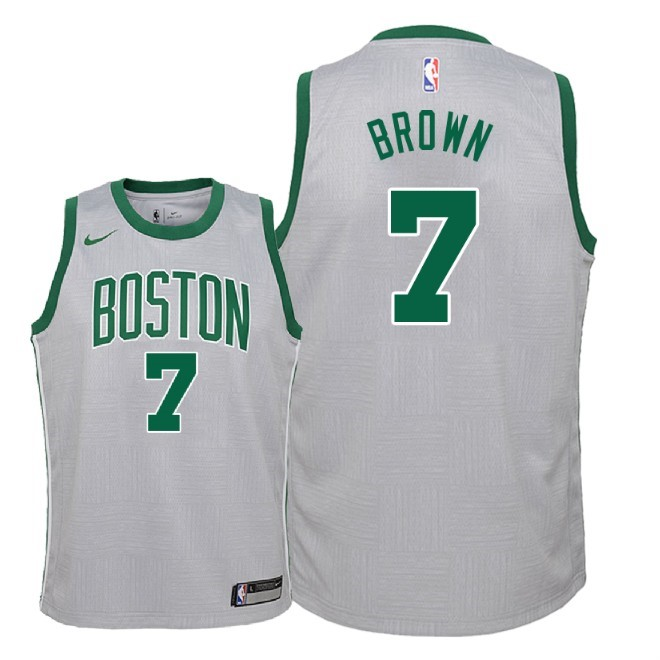 De Alta Calidad Camisetas NBA Niño Boston Celtics 7 Jaylen Brown Nike Gris Ciudad 2018