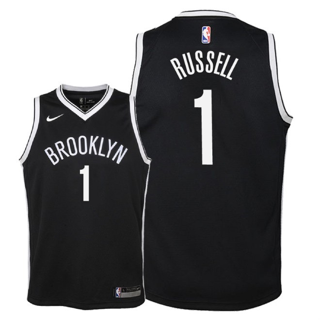 De Alta Calidad Camisetas NBA Niño Brooklyn Nets 1 D'Angelo Russell Negro Icon 2018