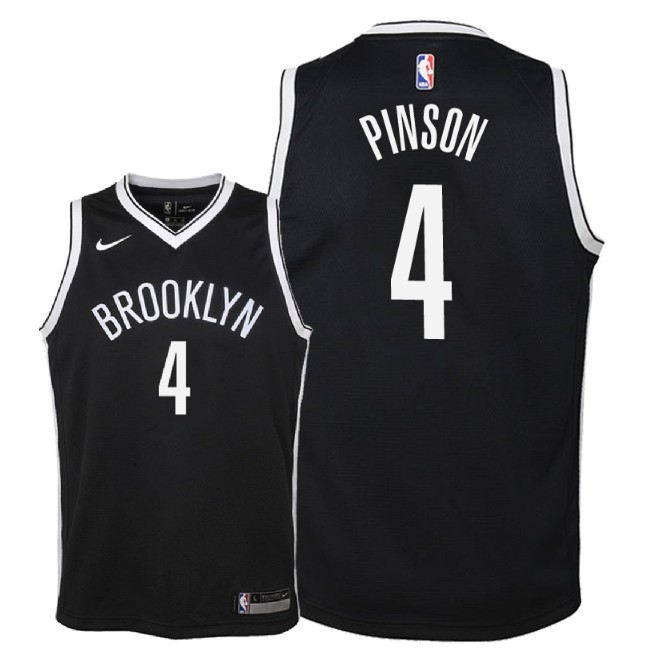 De Alta Calidad Camisetas NBA Niño Brooklyn Nets 4 Theo Pinson Negro Icon 2018