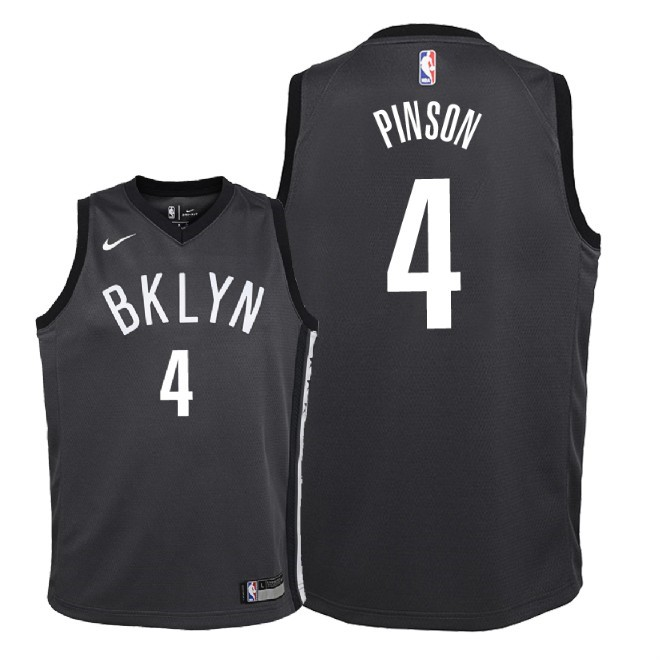 De Alta Calidad Camisetas NBA Niño Brooklyn Nets 4 Theo Pinson Negro Statement 2018