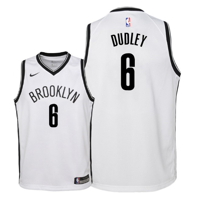 De Alta Calidad Camisetas NBA Niño Brooklyn Nets 6 Jared Dudley Blanco Association 2018