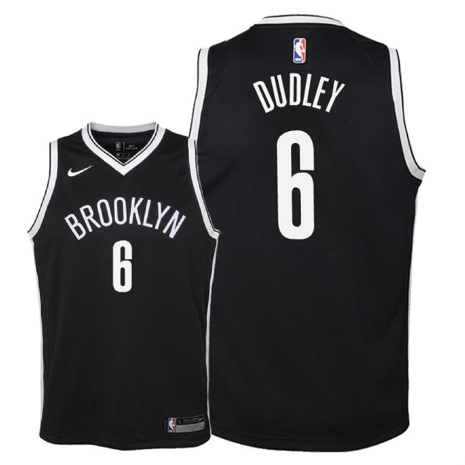 De Alta Calidad Camisetas NBA Niño Brooklyn Nets 6 Jared Dudley Negro Icon 2018
