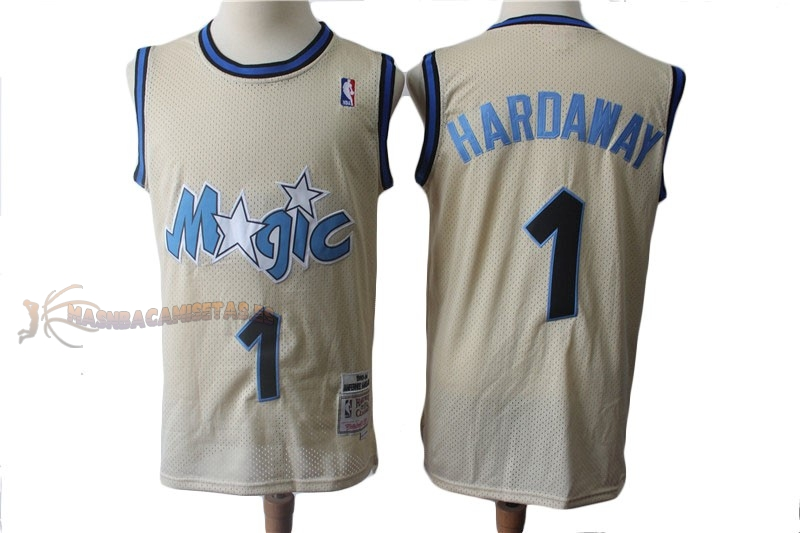 De Alta Calidad Camisetas NBA Orlando Magic 1 Anfernee Hardaway Retro Crema 1993-94