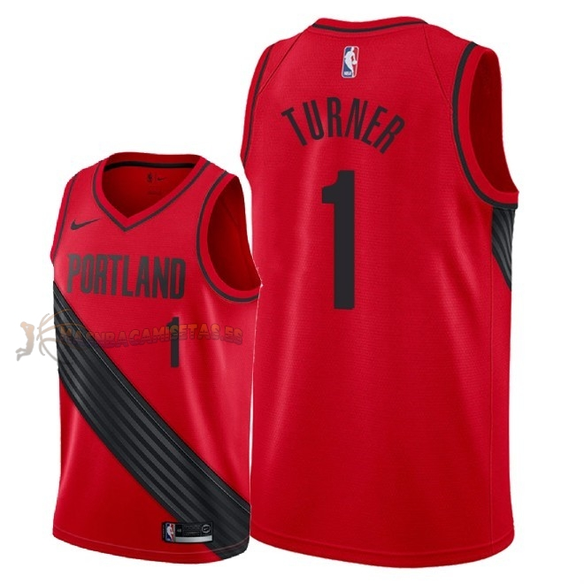 De Alta Calidad Camisetas NBA Portland Trail Blazers 1 Evan Turner Rojo Statement 2018