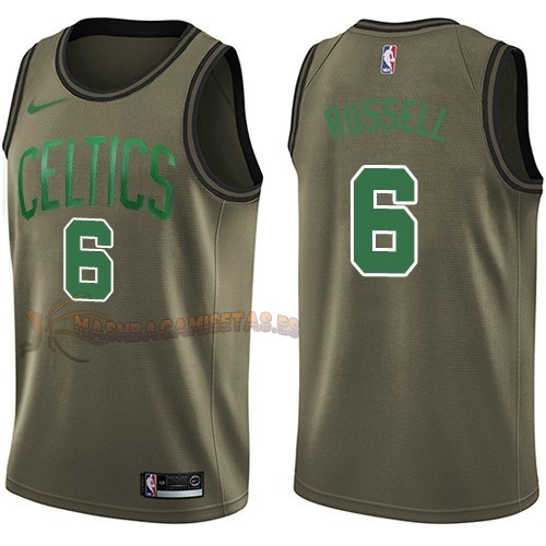 De Alta Calidad Camisetas NBA Salute To Servicio Boston Celtics 6 Bill Russell Nike Ejercito Verde 2018