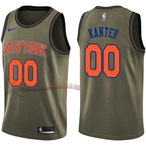 De Alta Calidad Camisetas NBA Salute To Servicio New York Knicks 0 Enes Kanter Nike Ejercito Verde 2018