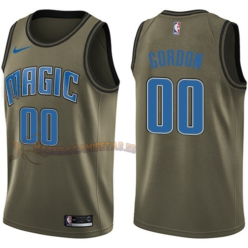 De Alta Calidad Camisetas NBA Salute To Servicio Orlando Magic 0 Aaron Gordon Nike Ejercito Verde 2018