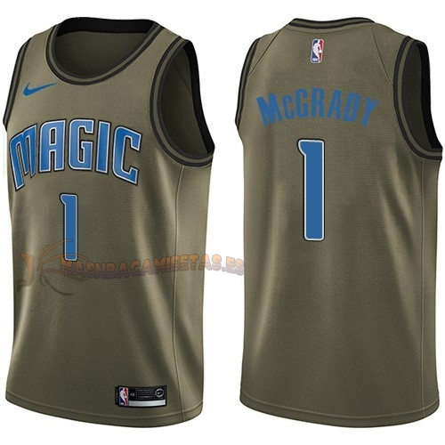 De Alta Calidad Camisetas NBA Salute To Servicio Orlando Magic 1 Tracy Mcgrady Nike Ejercito Verde 2018