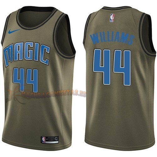 De Alta Calidad Camisetas NBA Salute To Servicio Orlando Magic 44 Jason Williams Nike Ejercito Verde 2018