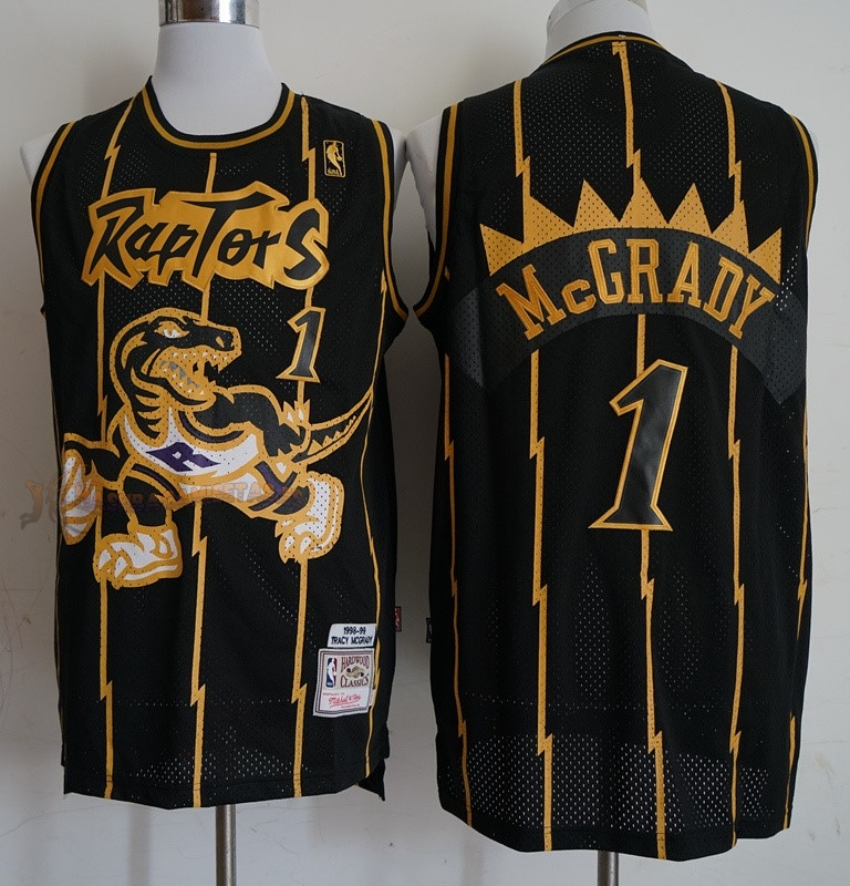 De Alta Calidad Camisetas NBA Toronto Raptors 1 Tracy McGrady Retro Oro Negro 1998-99