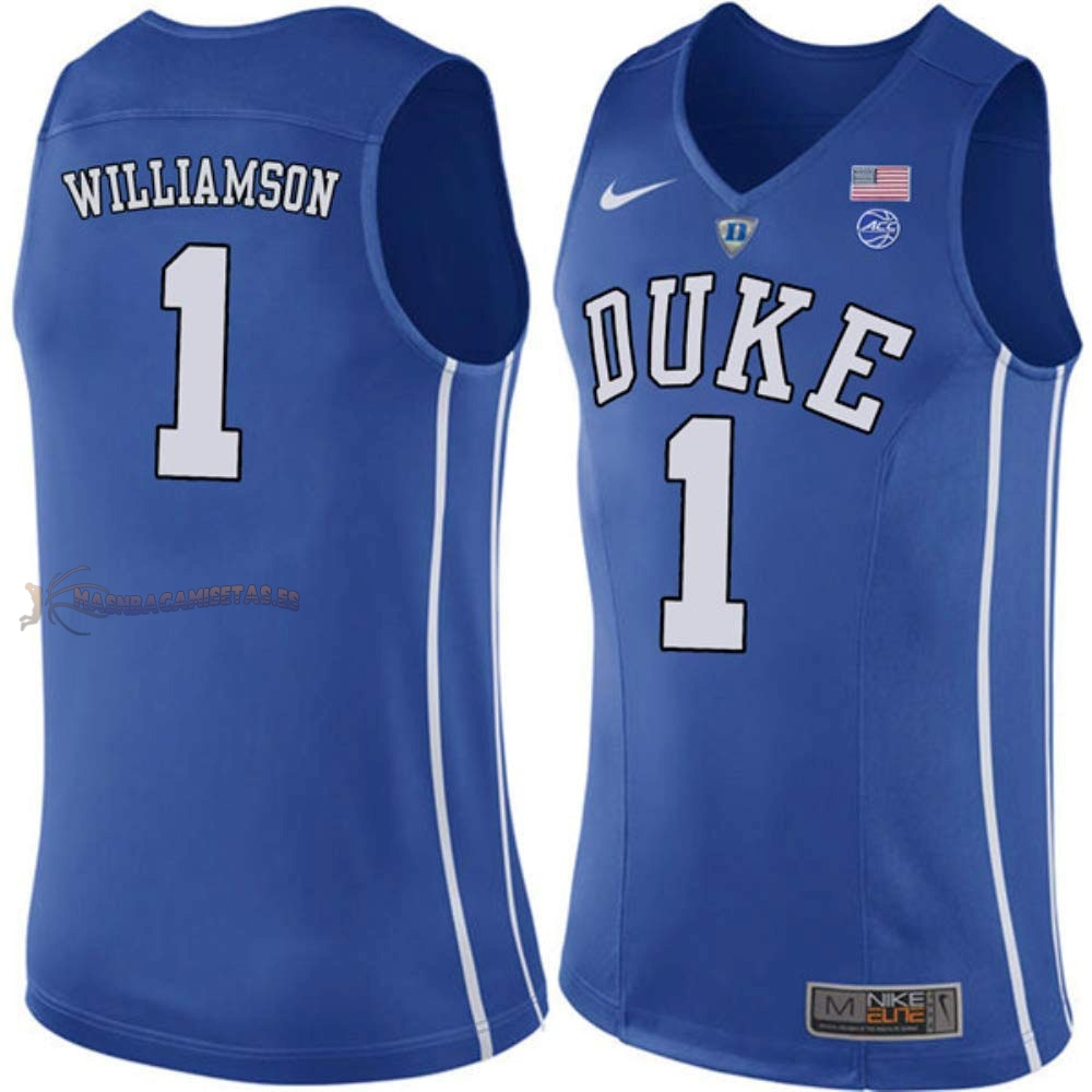 De Alta Calidad Camisetas NCAA Duke 1 Zion Williamson Azul