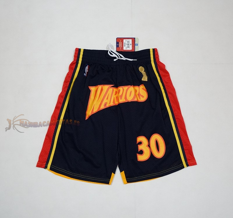 De Alta Calidad Pantalones Basket Golden State Warriors 2018 Campeones Finales 30 Stephen Curry Negro