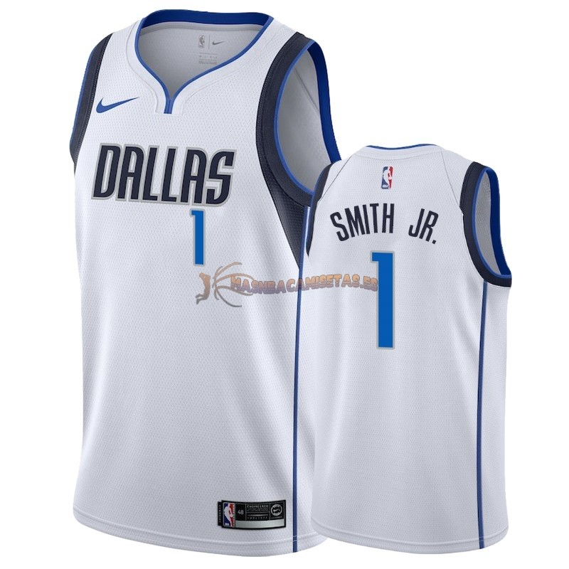 De Alta Calidad Camisetas NBA Nike Dallas Mavericks 1 Dennis Smith Jr Blanco Association 2018-19