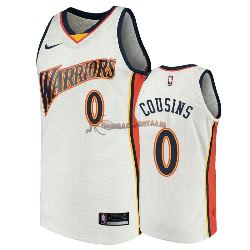 De Alta Calidad Camisetas NBA Golden State Warriors 0 DeMarcus Cousins Blanco Throwback