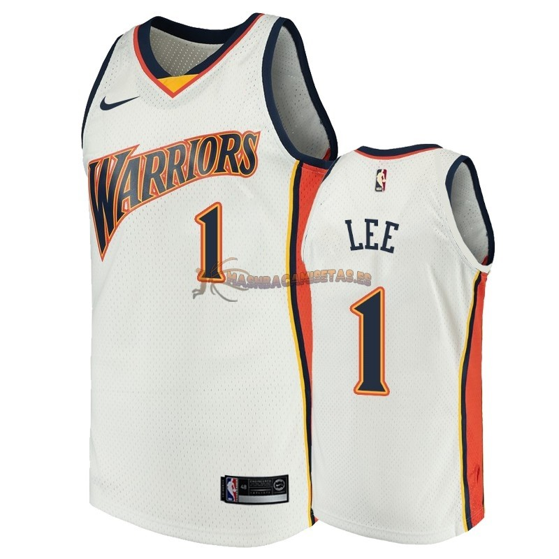 De Alta Calidad Camisetas NBA Golden State Warriors 1 Damion Lee Blanco Throwback