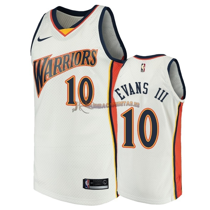 De Alta Calidad Camisetas NBA Golden State Warriors 10 Jacob Evans III Blanco Throwback