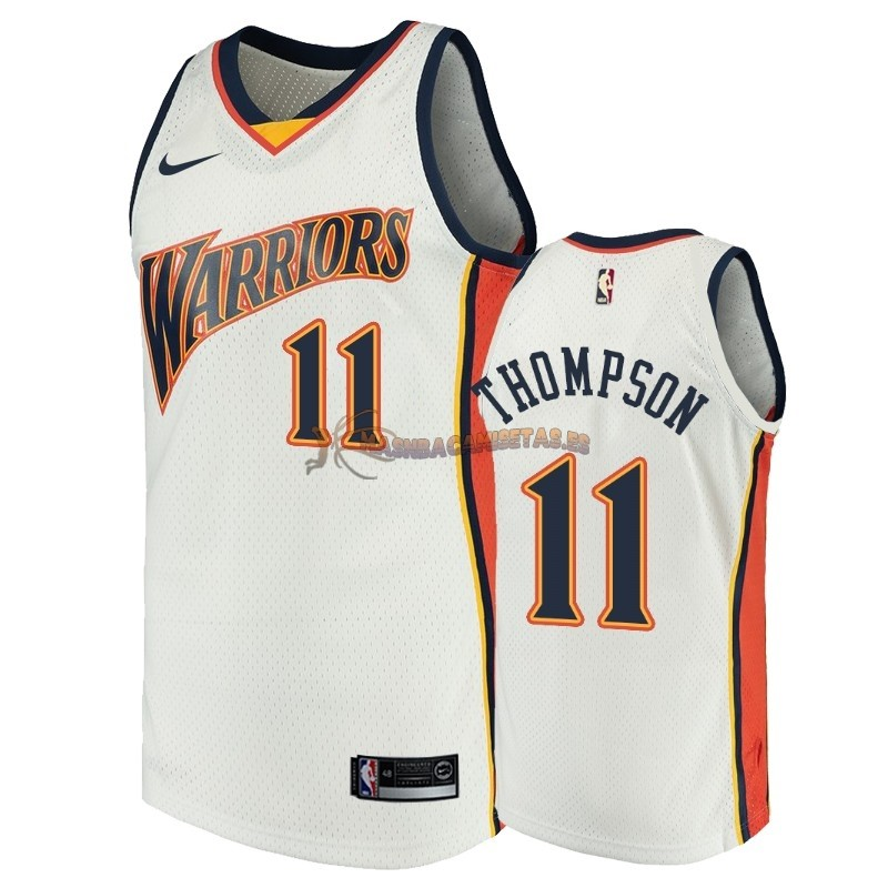 De Alta Calidad Camisetas NBA Golden State Warriors 11 Klay Thompson Blanco Throwback