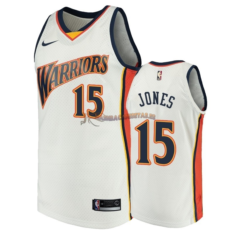 De Alta Calidad Camisetas NBA Golden State Warriors 15 Damian Jones Blanco Throwback