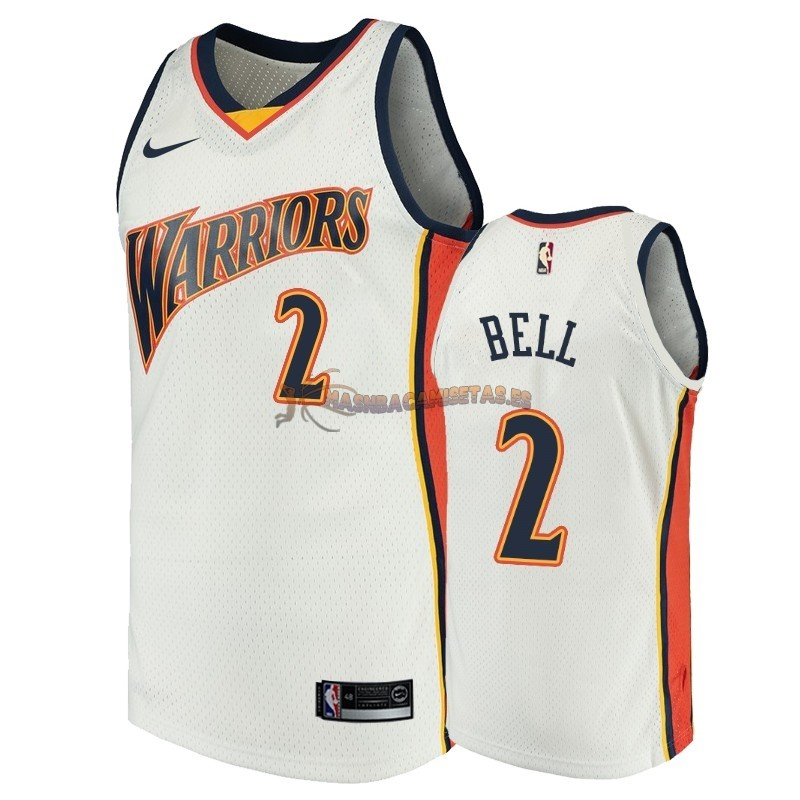 De Alta Calidad Camisetas NBA Golden State Warriors 2 Jordan Bell Blanco Throwback