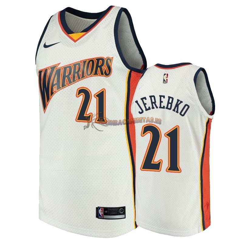 De Alta Calidad Camisetas NBA Golden State Warriors 21 Jonas Jerebko Blanco Throwback