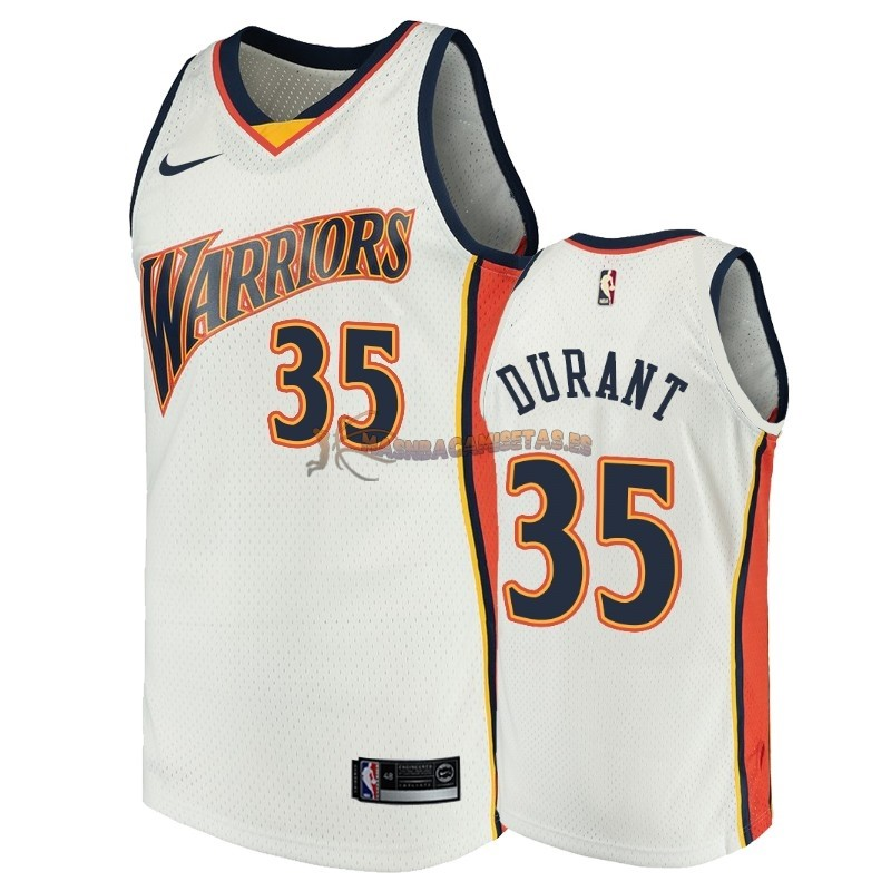 De Alta Calidad Camisetas NBA Golden State Warriors 35 Kevin Durant Blanco Throwback