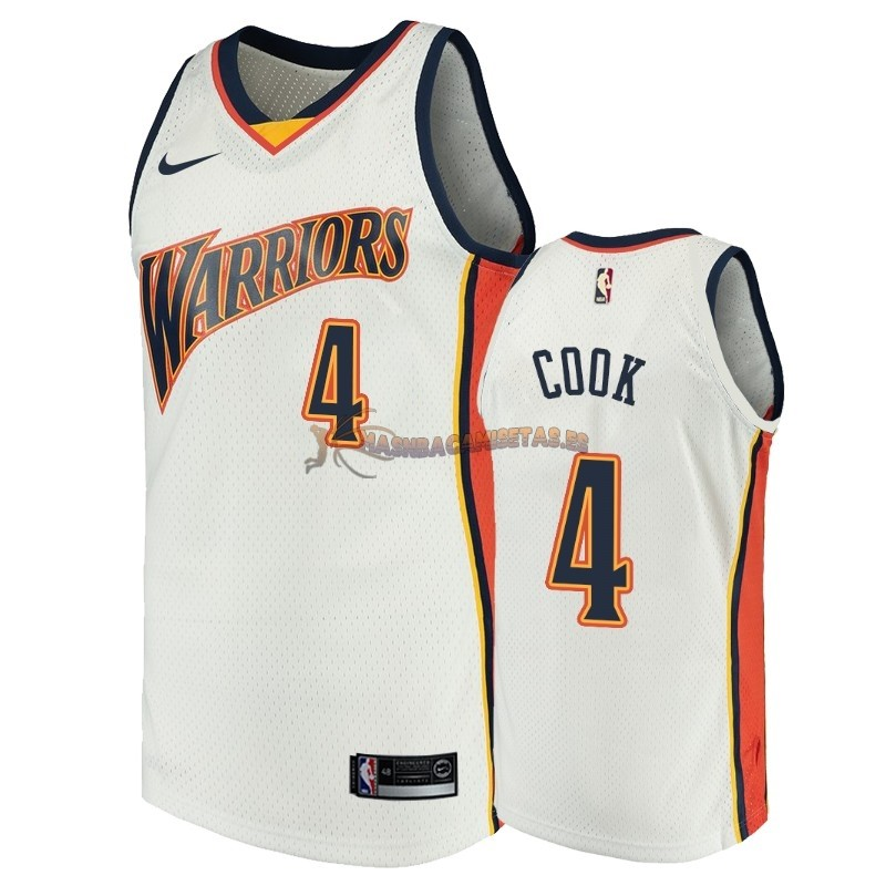De Alta Calidad Camisetas NBA Golden State Warriors 4 Quinn Cook Blanco Throwback