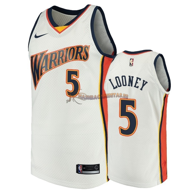 De Alta Calidad Camisetas NBA Golden State Warriors 5 Kevon Looney Blanco Throwback