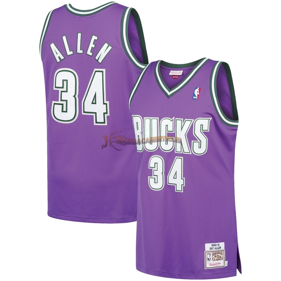 De Alta Calidad Camisetas NBA Milwaukee Bucks 34 Ray Allen Púrpura Hardwood Classics 2000/01