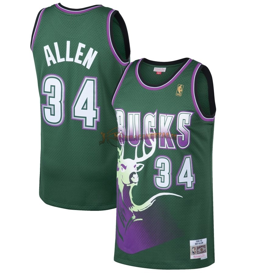 De Alta Calidad Camisetas NBA Milwaukee Bucks 34 Ray Allen Verde Hardwood Classics 1996/97