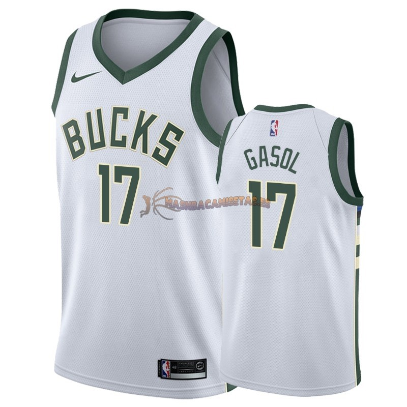 De Alta Calidad Camisetas NBA Nike Milwaukee Bucks 17 Pau Gasol Blanco Association 2018/19