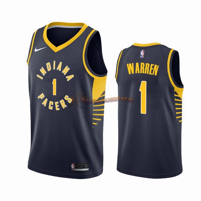De Alta Calidad Camisetas NBA Nike Indiana Pacers 1 T.J. Warren Gray Marino Icon 2019/20