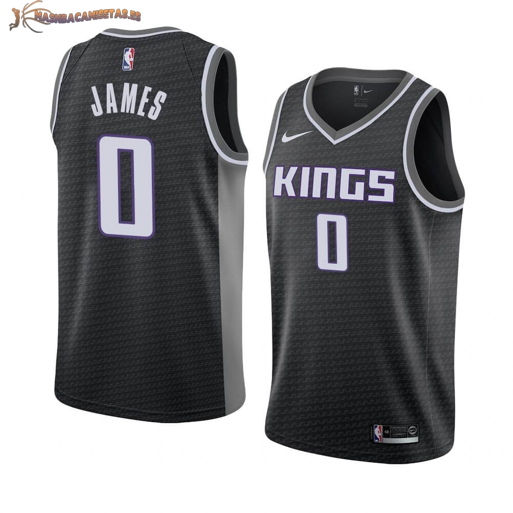 De Alta Calidad Camisetas NBA Nike Sacramento Kings 0 Justin James Negro Statement 2019/20
