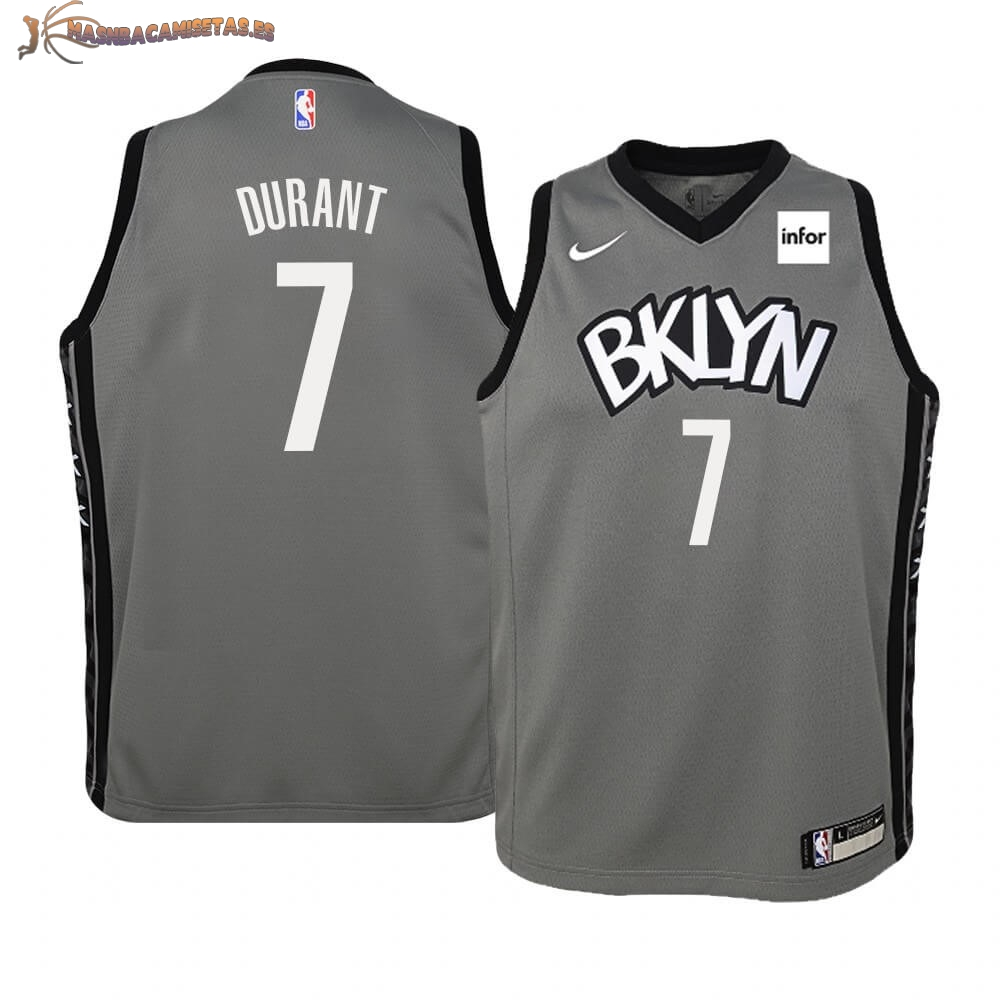 De Alta Calidad Camisetas NBA Niño Brooklyn Nets 7 Kevin Durant Gris Statement 2019/20