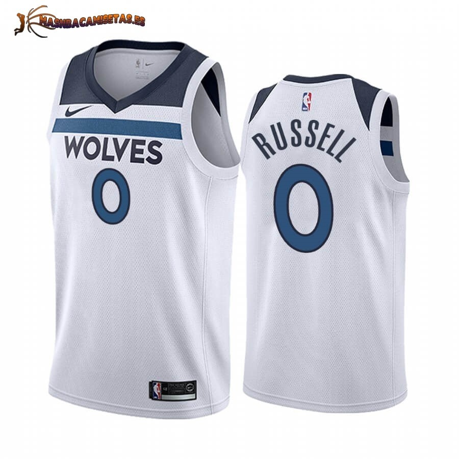 De Alta Calidad Camisetas NBA Nike Minnesota Timberwolves NO.0 D'angelo Russell Blanco Association 2019/20