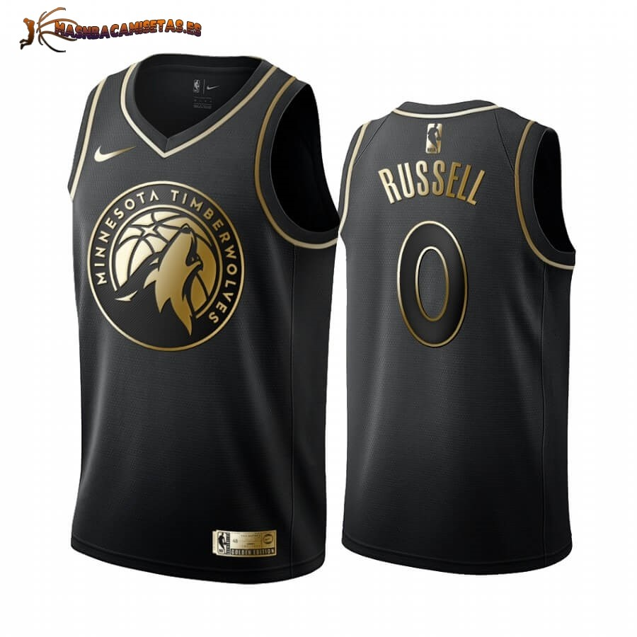 De Alta Calidad Camisetas NBA Nike Minnesota Timberwolves NO.0 D'angelo Russell Oro Edition 2019/20