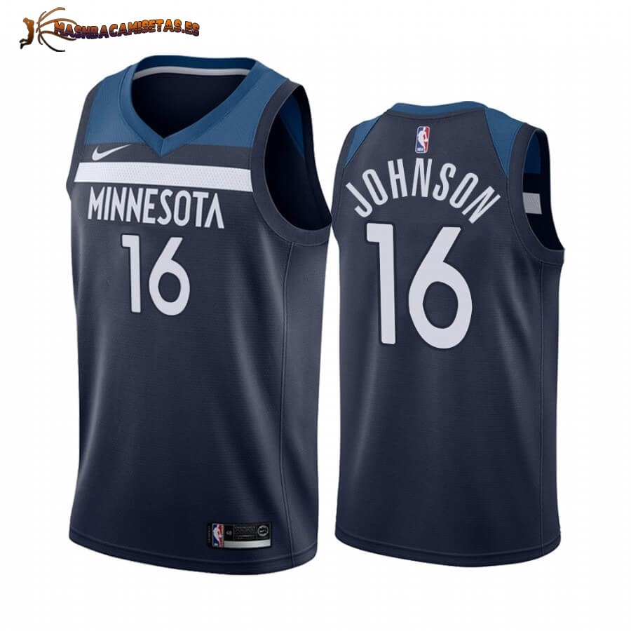 De Alta Calidad Camisetas NBA Nike Minnesota Timberwolves NO.16 James Johnson Marino Icon 2019/20