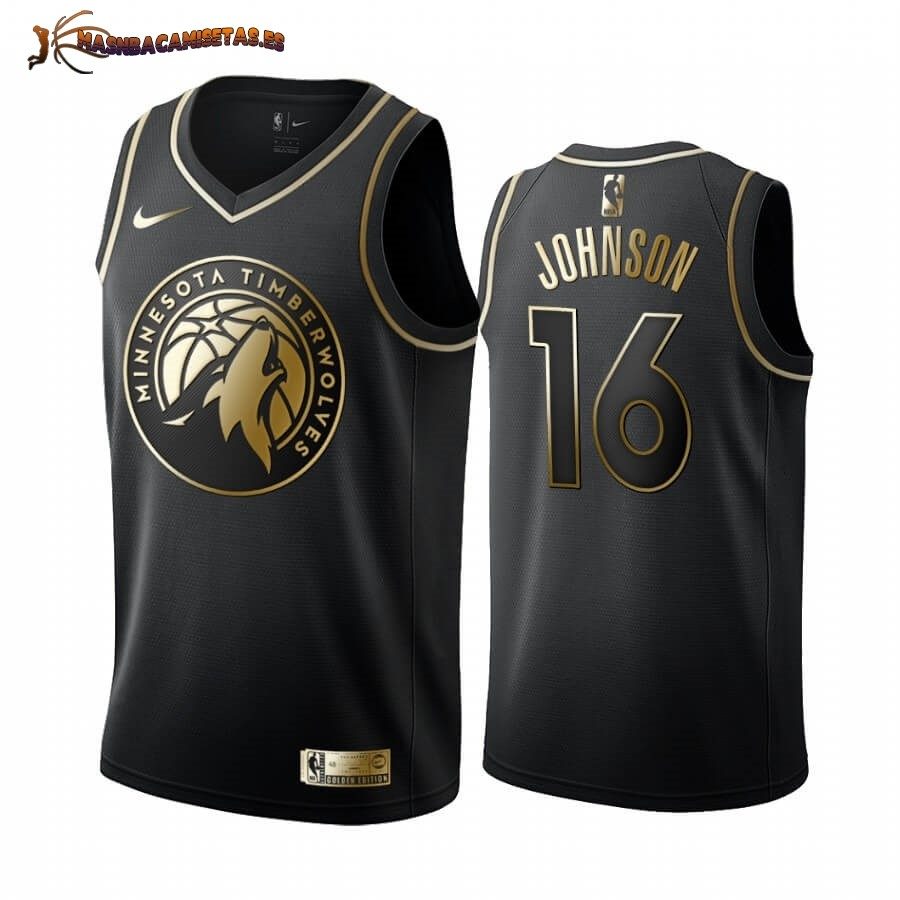 De Alta Calidad Camisetas NBA Nike Minnesota Timberwolves NO.16 James Johnson Oro Edition 2019/20
