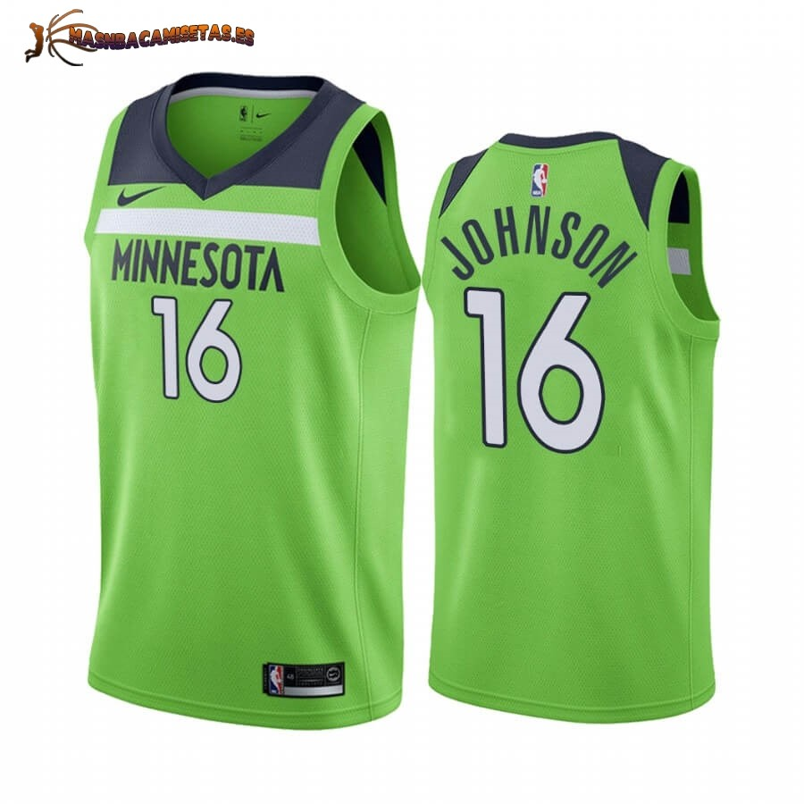 De Alta Calidad Camisetas NBA Nike Minnesota Timberwolves NO.16 James Johnson Verde Statement 2019/20