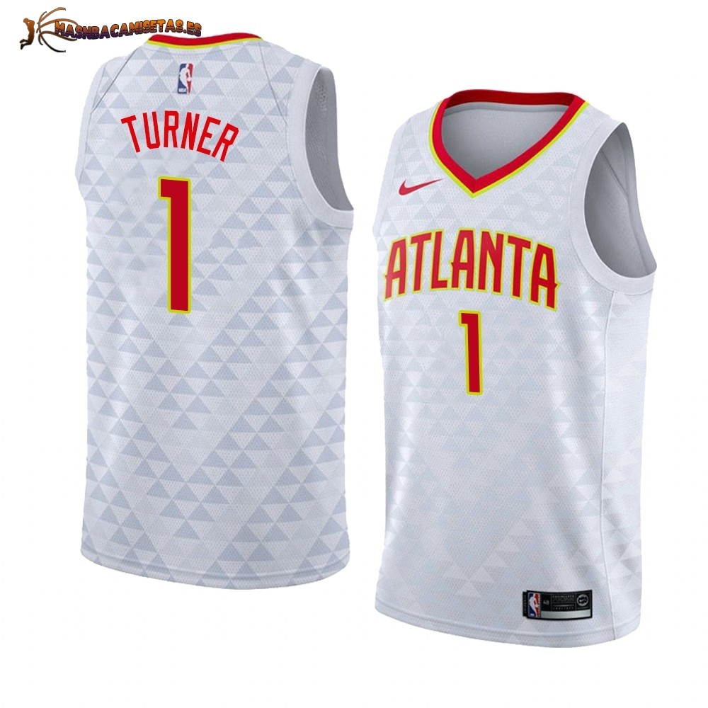 De Alta Calidad Camisetas NBA Nike Atlanta Hawks 1 Evan Turner Blanco Association 2019/20