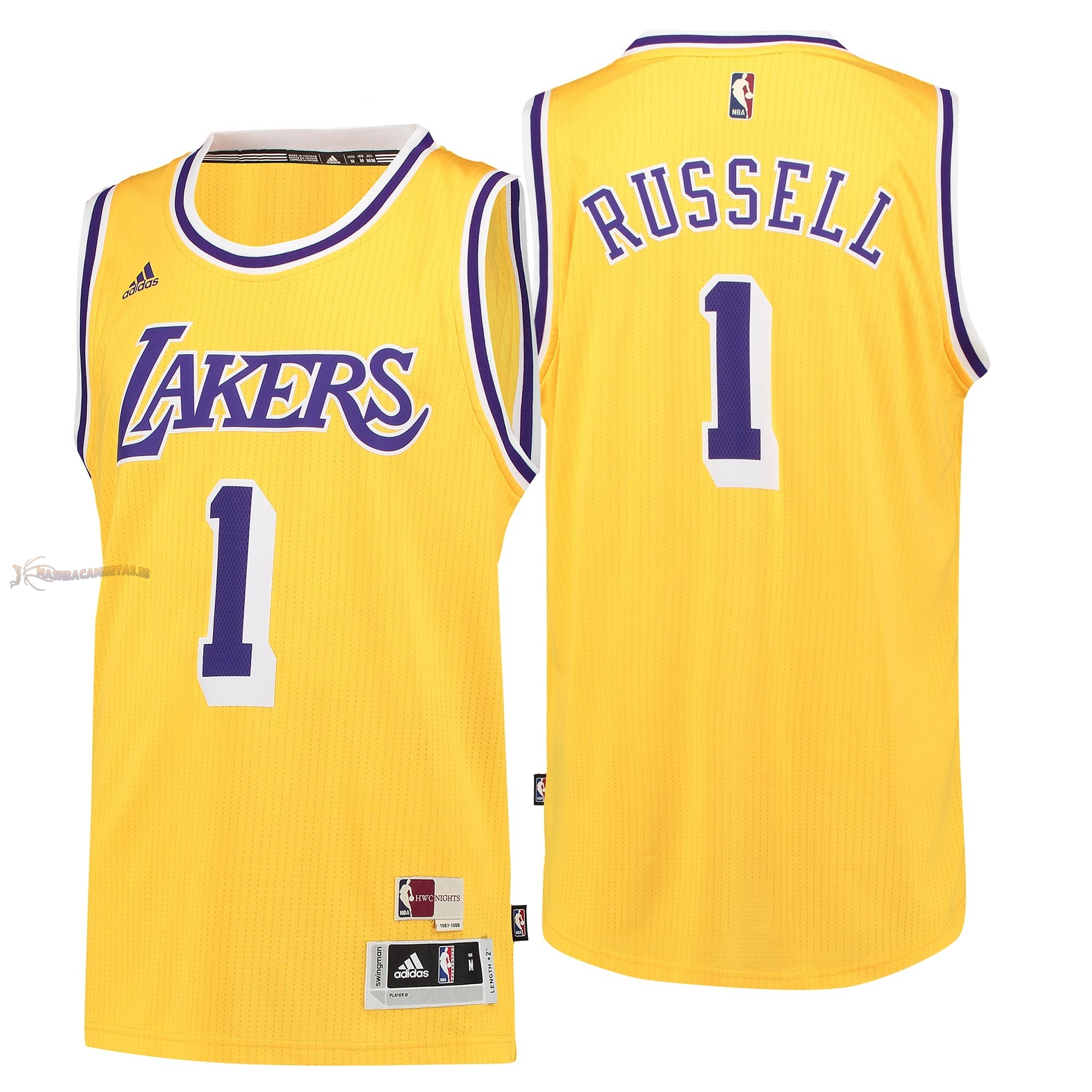 De Alta Calidad Camisetas NBA Los Angeles Lakers 1 D'Angelo Russell Retro Azul