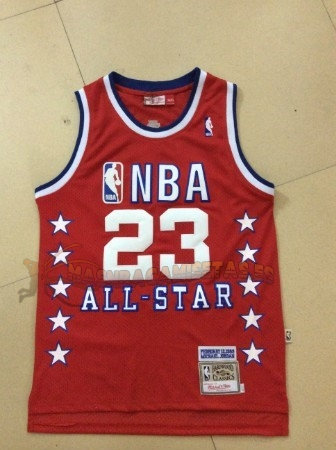 De Alta Calidad Camisetas NBA 1989 All Star 23 Michael Jordan Rojo