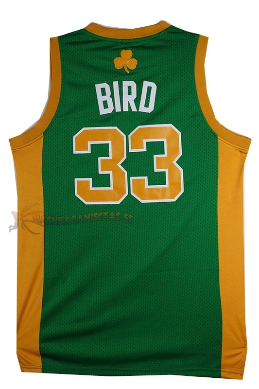 De Alta Calidad Camisetas NBA Boston Celtics 33 Larry Joe Bird Verde Naranja