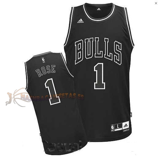 De Alta Calidad Camisetas NBA Chicago Bulls 1 Derrick Rose Negro