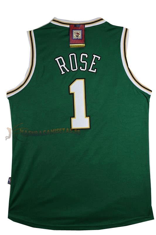 De Alta Calidad Camisetas NBA Chicago Bulls 1 Derrick Rose Verde Blanco