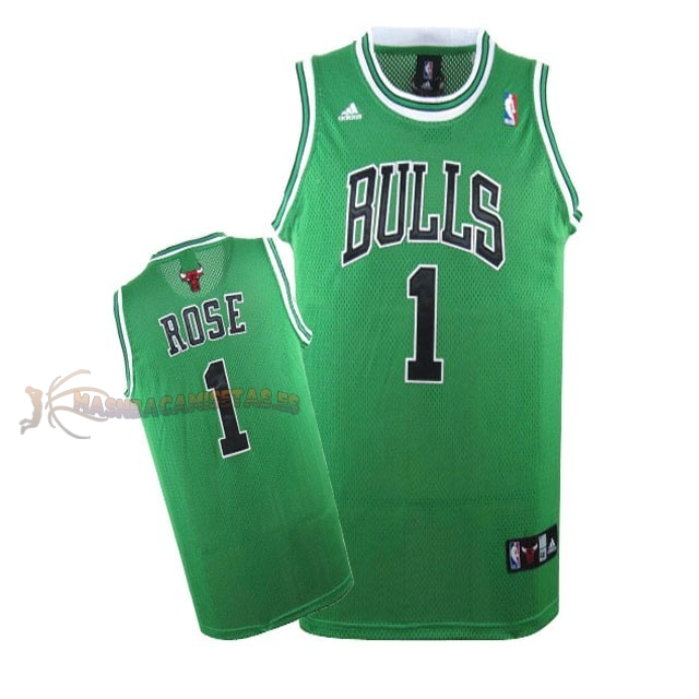 De Alta Calidad Camisetas NBA Chicago Bulls 1 Derrick Rose Verde