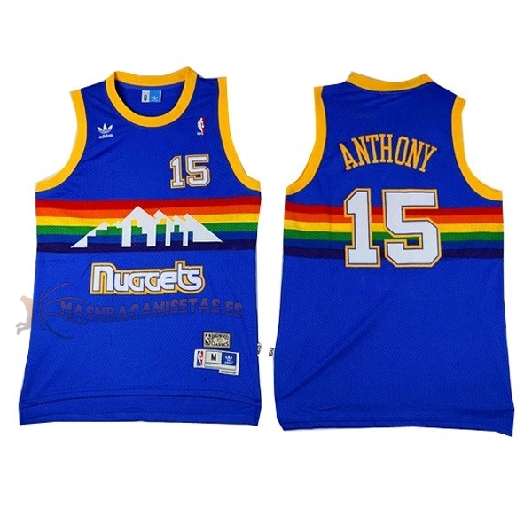 De Alta Calidad Camisetas NBA Denver Nuggets 15 Carmelo Anthony Azul